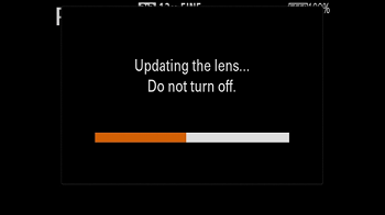 Updating the lens. Do not turn off