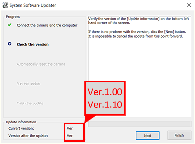 System Software Updater - Versione corrente