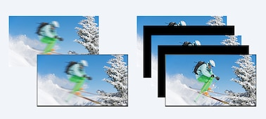 Comparison of blurred skiing footage with and without Motionflow