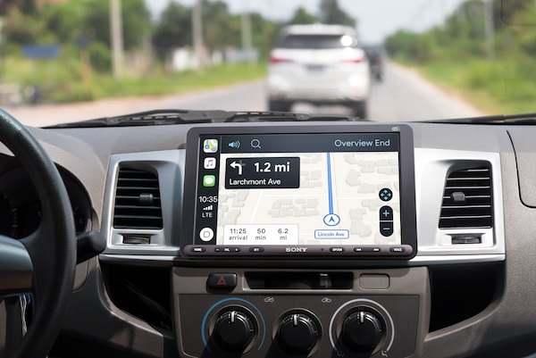 XAV-AX8050D displaying directions with Apple CarPlay