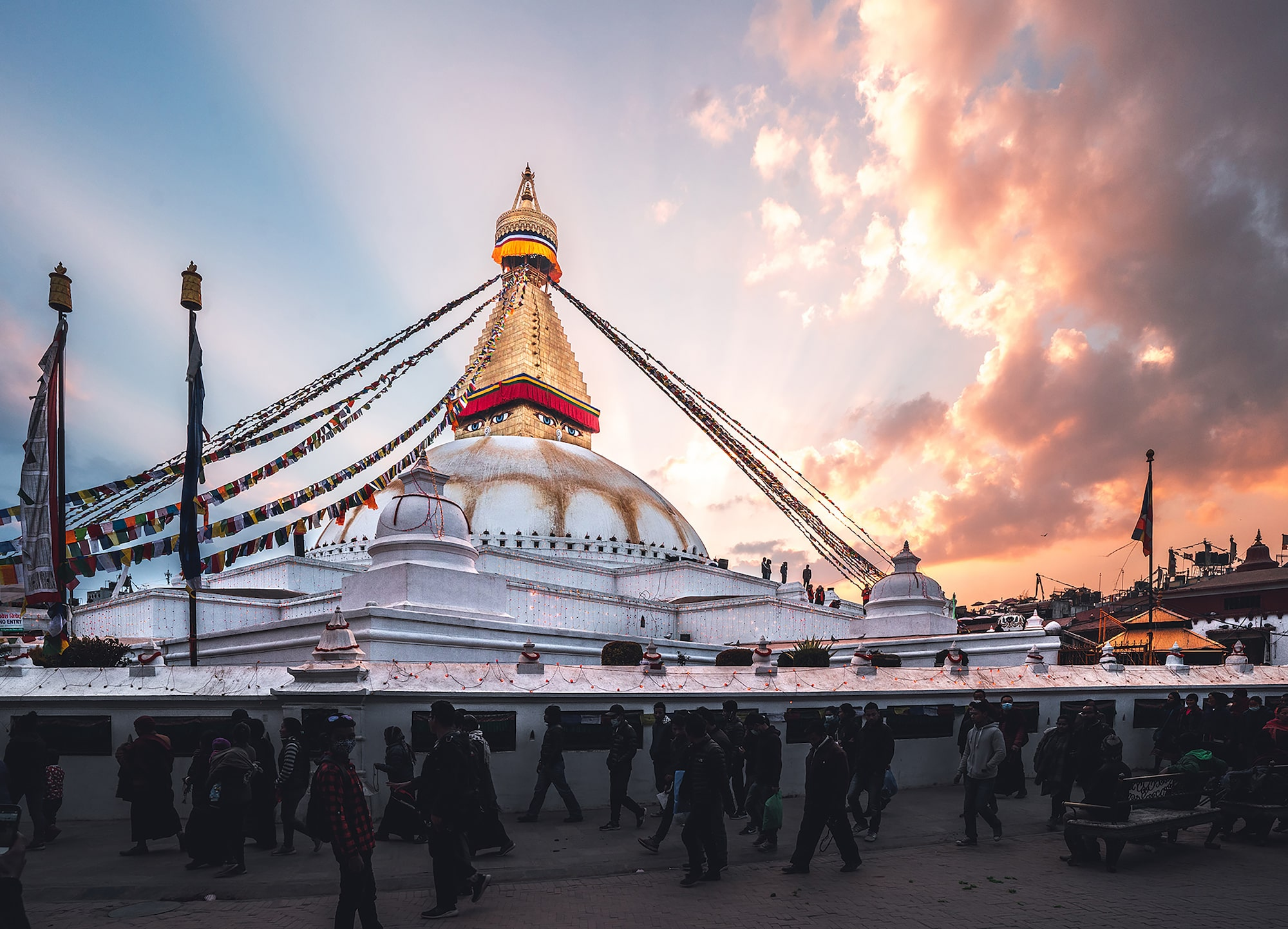 tolis fragoudis sony alpha 7RII dramatic clouds behind the boudhanath temple in kathmandu