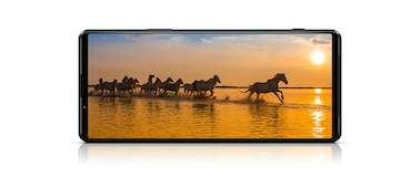 Xperia 1 III showing wild horses running on screen