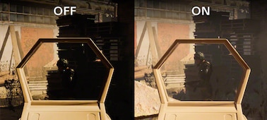 First person shooter gaming scene showing difference in brightness between Low gamma raiser on and off