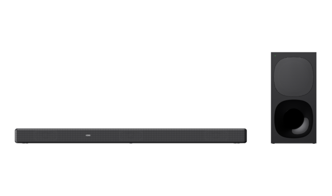Front-facing product shot of HT-G700 sound bar and wireless subwoofer