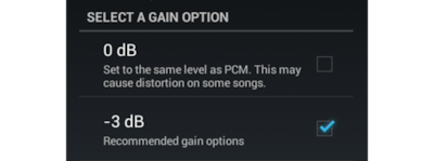 Gain option setting menu