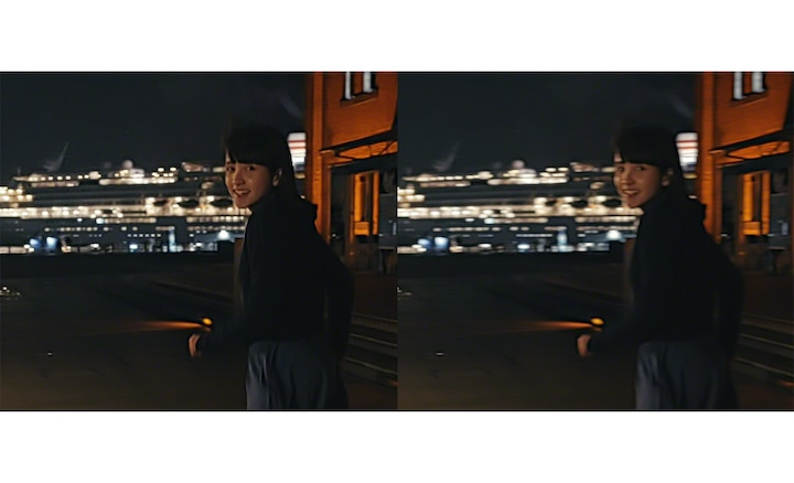 Split screen image of a young girl outside at night, one clear, one blurry