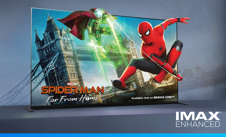 Image of SpiderMan far from home movie on BRAVIA screen with IMAX ENHANCED logo