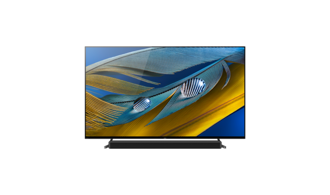 A80J BRAVIA XR TV front shot with soundbar