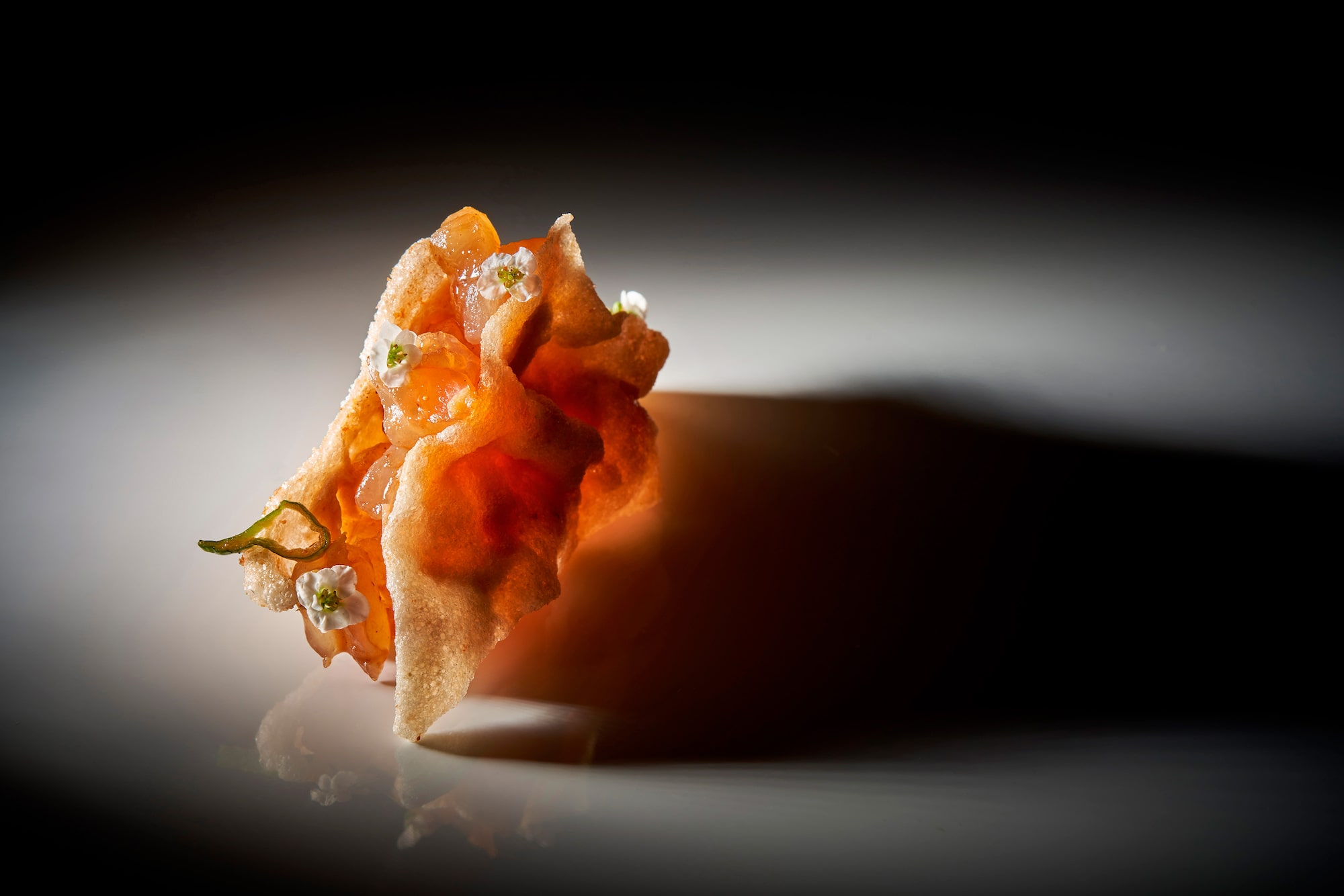 pablo gil sony alpha 7RM3 a prawn cracker decorated with jelly and chilli pieces boldly lit on a white plate