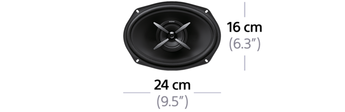"Dimensions of 16x24cm (6x9"") 2-Way Coaxial Speakers"