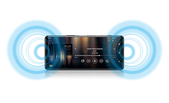 Xperia 5 III showing a music interface and illustrated sound waves coming from the speakers
