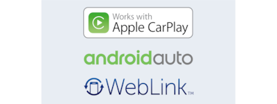 Logos for Apple CarPlay, Android Auto, and Weblink