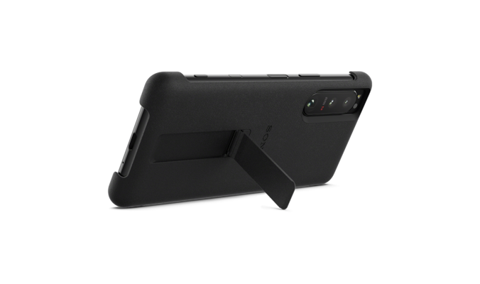 Xperia 5 III with Style Cover  rear view standing up