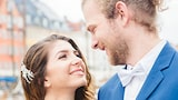 sandra aberg sony alpha 7r3 bride and blue dressed groom look at each other smiling