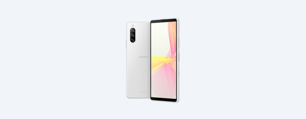 Back and angled front shots of Xperia 10 III in white