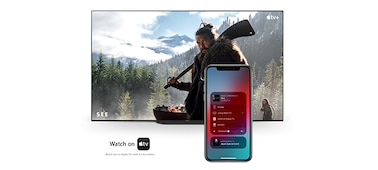 Phone and television connected with Apple AirPlay